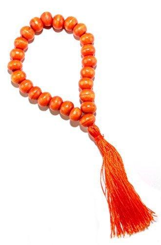 GTSL - orange Handgelenks- Fußkette aus Holzkugeln mit Quaste aus Bali