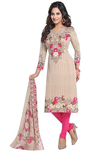 ishin Women's Crepe Dress Material (Ddrvar-BP-1773_Beige_Free Size)