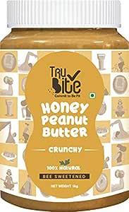 Trubite Natural Honey Peanut Butter (Crunchy) (1kg) | 27g Protein | No Added Sugar | No Added Preservatives | Non GMO | Gluten Free