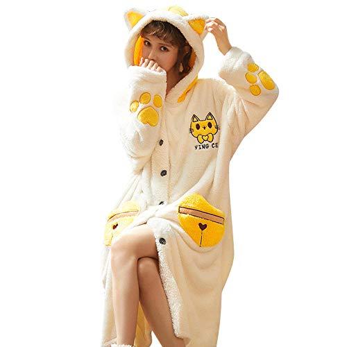 Albornoz de Mujer Invierno Pijama Lindo cómodo con Capucha Gruesa - Amarillo-XL