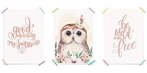 myprinti® 3er Set Kinderzimmer Poster Babyzimmer Bilder | Mädchen Baby | Wanddeko Bildergalerie Deko | Größe DIN A4 | Good Morning My Sunshine, Eule, Be Wild and Free