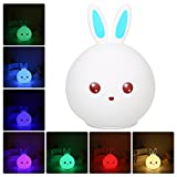 Lixada LED Multicolor Night Lamp,Baby Night Light,Soft Silicone Rabbit 7 Color USB Rechargeable Pat Sensor Bedside Light ,Sensitive Tap Control for Kid Adults Bedroom