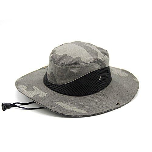 Été Les Hommes Chapeau De Pêche En Plein Air Chapeau De Pêcheur Protection UV Camouflage Dayan Mao Ben Casquette Népalaise Darkgray