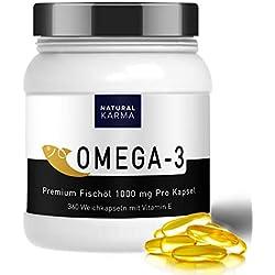 Omega 3 Fischöl Kapseln hochdosiert I Jahrespackung mit 360 Omega3 Kapseln hochdosiert I 1000 mg Fischöl I 120 mg DHA 180 mg EPA und pro Kapsel I Nahrungsergänzungsmittel von NATURAL KARMA I