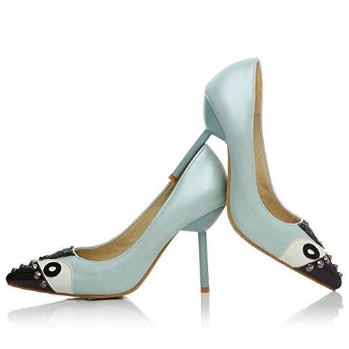 RAZAMAZA Femmes Talons Petite Escarpins blue