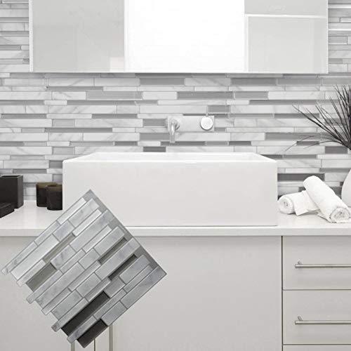 SYQH Weiß grau marmor mosaik schälen und Stick Wand Fliesen Selbstklebende backsplash DIY küche Bad Home wandtattoo Aufkleber Vinyl 3D,C1 -