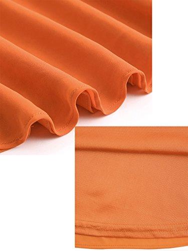 ROMWE Damen V-Ausschnitt Weitschwingendes Sommerkleider Spagehtti Strandkleid Trägerkleid Orange
