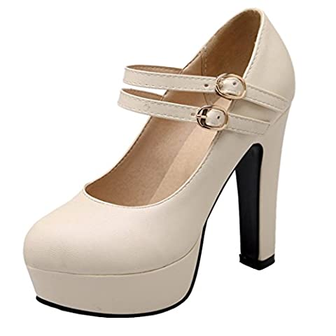 AIYOUMEI Damen Mary Jane Plateau Pumps mit Schnalle Blockabsatz High Heel Bürodame Schuhe