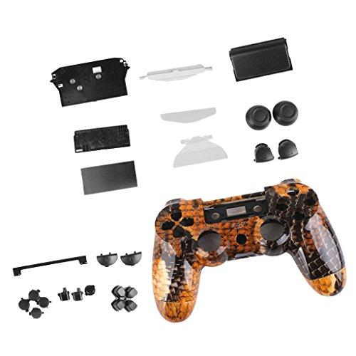 kokiya Schutzhülle Gehäuse Cover Case Mit Button Kit Für PlayStation4 PS4 Controller - Gold Drachen Gold Gehäuse Cover