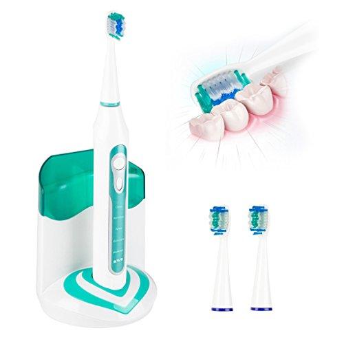 Duomishu Elektrische Ultraschallzahnbürste, Tiefenreinigung, wiederaufladbar, Zahnbelag-Entfernung (Plaqueschutz), 5 Putzmodi - reinigen (sauber, sanft, Bleaching, Zahnfleischpflege -/Massage) UV-Desinfektion. Inkl. 3 Bürstenköpfe---Cyber Monday