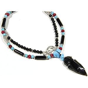 Bohemian Etnische Indianer Kette für Männer Geschenk für ihn Halskette für Frauen Geschenk für sie Halbedelstein Kette mit Pfeil Anhänger
