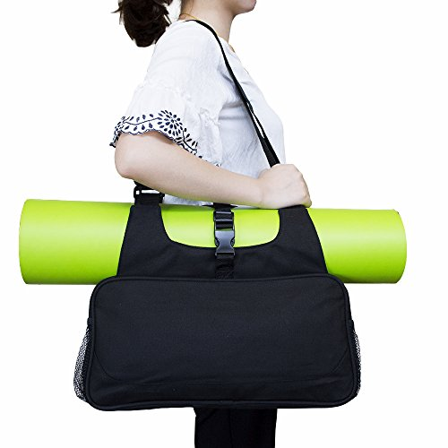 Erasky Yogatasche Yoga Matte Tasche Rucksack Yogamattentasche für Hot Yoga, Pilates, Fitnessstudio,Sporttasche (Schwarz)