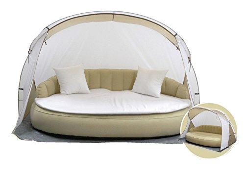 Dekovita mobile Air-Lounge 220x130cm Sonneninsel in Weiß-Beige Doppelliege inkl. Auflage 2 Kissen Strandmuschel Luftpumpe schneller Auf-/Abbau, 2-3 Personen Chill Out Sofa bis 200 KG belastbar