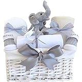My First Teddy Elefant Unisex Baby Geschenk Korb/Baby-Geschenkkorb/Unisex Baby Dusche Geschenke/neutral Neugeborene Geschenk/Mutterschaft Geschenk/Unisex Baby/Taufe Geschenk/Korbdekoration Schnell Versand