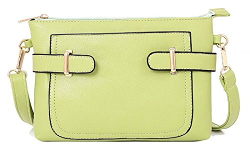 Kukubird Lisbeth In Ecopelle Con Tasca Frontale & Dettaglio Cinghia A Tracolla Sling Tracolla Messenger Handbag Light Green