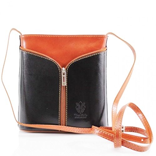 Vera Pelle, Borsa a tracolla donna nero Black / Tan small Black / Tan