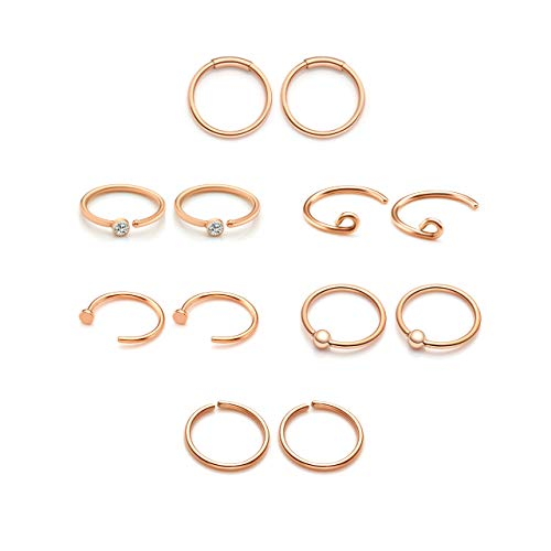 PiercingJ 6 Paar Edelstahl Piercing Set, Fakes Nase Hoop Septum Ring 0.8mm Kugel Piercing für Ohr Lippen Helix Tragus,Rosegold/Schwarz/Gold/Silber (Rosegold Set)
