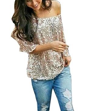 Newlife da Donna Paillettes T-shirt a Sexy Senza Spalline Pipistrello Camicetta a Sciolto Camicia da Moda Bluse...