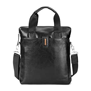 Man's leather shoulder bag double handle and strap by Gear Band Black