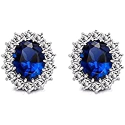 Sitashi AD American Diamond Blue Stone Stud Earring For Girls and Women