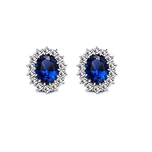 Sitashi AD American Diamond Blue Stone Stud Earring For Girls and Women
