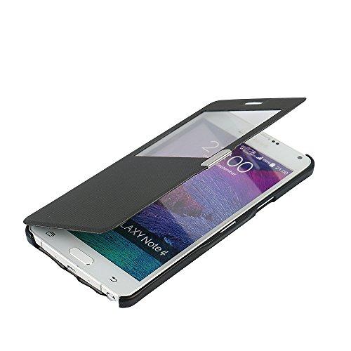 MTRONX für Samsung Galaxy Note 4 Hülle, Case Cover Schutzhülle Tasche Etui Klapphülle Fenster-Ansicht Magnetisch Twill PU Leder Dünn Folio Flip für Samsung Galaxy Note 4 - Schwarz(MG1-BK)