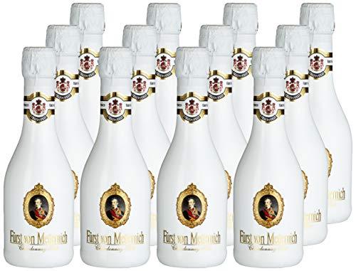 FÜRST VON METTERNICH Chardonnay Sekt Trocken (12 x 0.2 l) ǁ Piccolo ǀ kleine Flasche ǀ fruchtig, hochwertig ǀ Premiumsekt aus edlen deutschen Weinen ǀ  besondere Anlässe