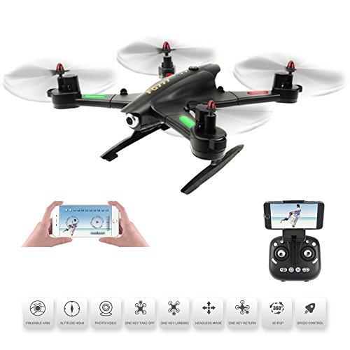 Quadcopter-Drone-avec-camra-FPV-Vido-en-direct-Mode-sans-tte-et-une-touche-Retour-et-maintien-daltitude-Flaps-et-rouleaux-3D-Application-WiFi-et-tlcommande-24G-4CH-6-axes-hlicoptre-RTF-pliable-noir-de