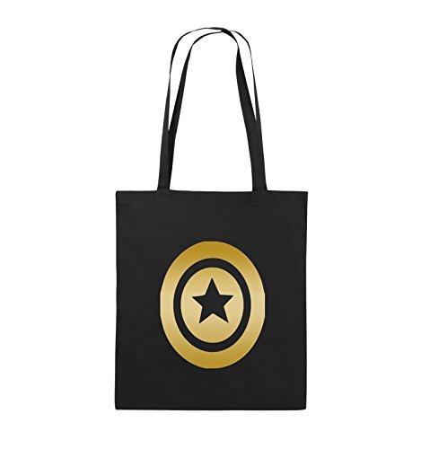 Comedy Bags - CAPTAIN AMERICA - Jutebeutel - lange Henkel - 38x42cm - Farbe: Schwarz / Silber Schwarz / Gold
