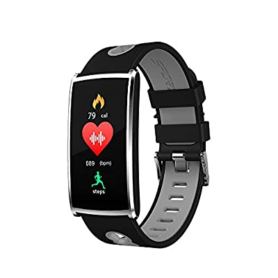 Torus Pro N68 Black/Grey and Silver Heart Rate Monitor with Oxygen Saturation and Blood Pressure Monitoring, Pedometer Watch, Fitness Tracker with Sleep Monitor and Colour Screen, Phone App, USB Charge. by HLC