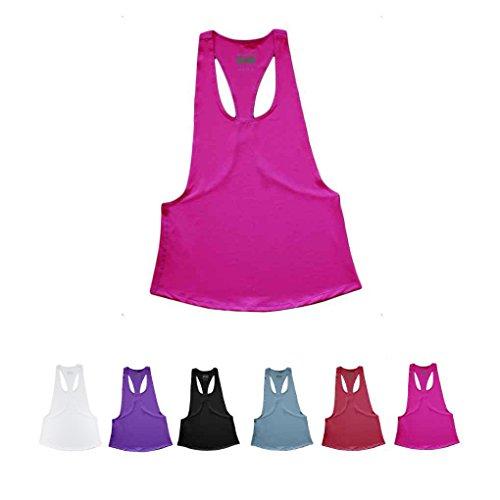 Masterein Femme Yoga Fitness Sport Gilet Top Sans Manches Yoga Lâche Vêtements Chemise Rose rouge