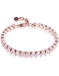namana Roségold Tennis Armband für Damen, Edelstahlarmband mit  Swarovski-Kristallen besetzt,… af547ac4c9