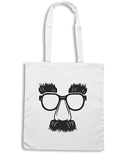 T-Shirtshock - Borsa Shopping FUN0064 03 29 2014 Groucho Glasses T SHIRT det Bianco