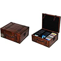 Vintiquewise Vintage Style Leather CD Case, Wood,