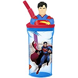 Niños 3d Character potable botella de agua vaso con pajita, plástico, Superman, med