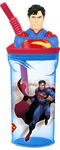 3D-Trinkbecher für Kinder mit ausziehbarem Strohhalm und Cartoon-Charakter, plastik, Superman, med