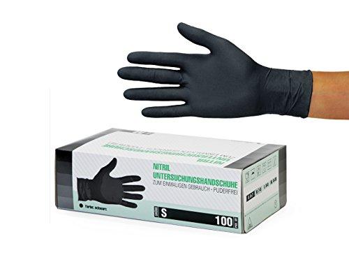 Nitrilhandschuhe 100 Stück Box (S, Schwarz) Einweghandschuhe, Einmalhandschuhe, Untersuchungshandschuhe, Nitril Handschuhe, puderfrei, ohne Latex, unsteril, latexfrei, disposible gloves, black, Smal