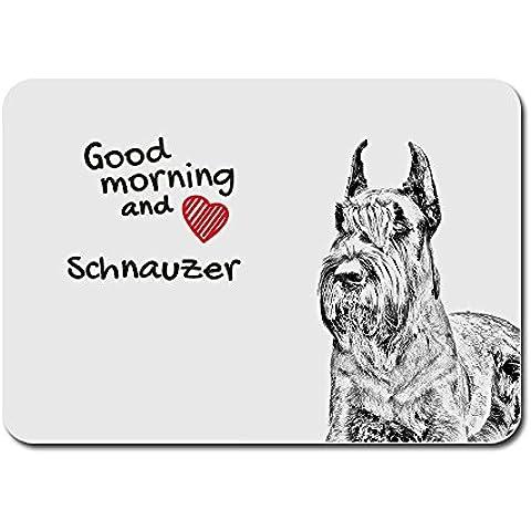 Schnauzer ritagliata, Un tappetino per il mouse del computer con l'immagine di un cane