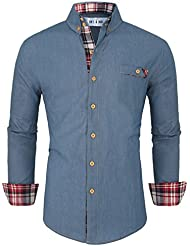 Tom's Ware Chemise-Casual manches longues boutonn? Denim-Hommes