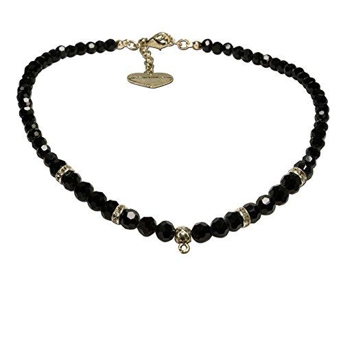 Alpenflüstern Perlen-Trachtenkette antik-gold-farben für Anhänger - Damen-Trachtenschmuck, elegante leere Dirndlkette schwarz (Gold Schmuck Und Trachten Schwarz)