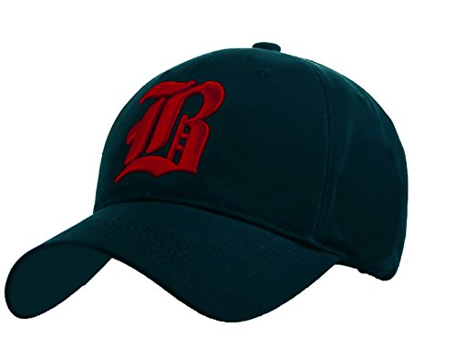 Unisex Damen Herren Baseball Cap Caps Gothic Letter B Hüte Mützen Snap Back Hat Hats (A Nave Blue red) (B Navy Blue red)