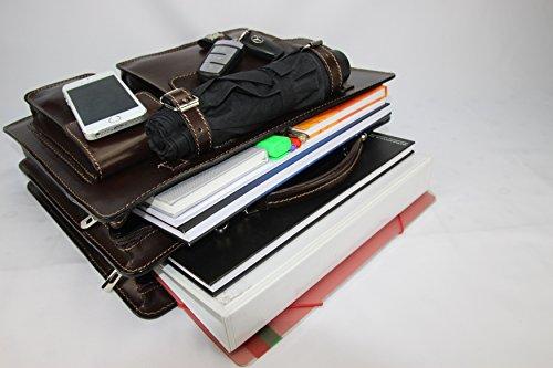 Business- und Laptoptaschen Italienische Luxus Aktentasche L (Rot) Mokka