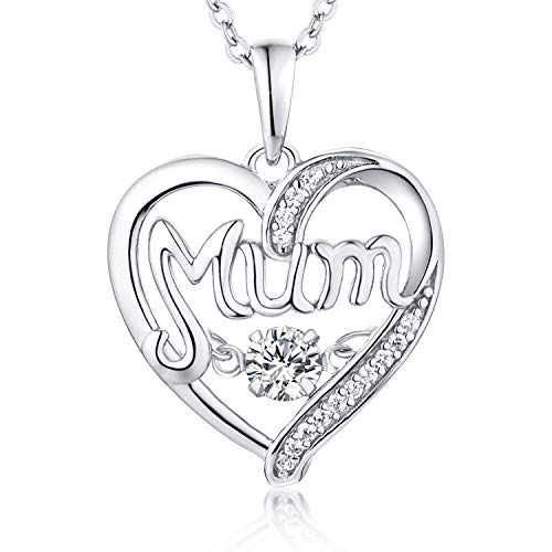 YL Herz Halskette Mum Mama-Kette Damen 925 Sterling Silber 3A Zirkonia Anhänger Weihnachtsgeschenke für Frau Mom,Kettenlänge 45-50 cm