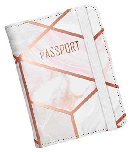 Nacuwa Reisepasshülle, Ausweistasche mit RFID-Blocker, Premium Damen Kunstleder Reisepass Schutzhülle Tasche für Kreditkarten, Ausweis und Reisedokumente