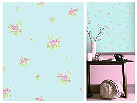 Dolly Mixtures Chintz Rose Sky Blue Pink Wallpaper 268033