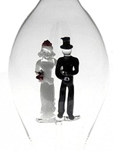 Bottiglia caraffa in vetro, caraffa con coppia di sposi all'