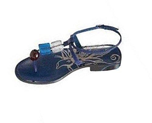 Dita sandalo in pelle blu Blau