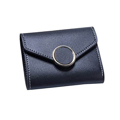 Philip Peacoc Neue Mini-Geldbörse-Karte Paket Ring große Hardware kurzen Abschnitt dreifache Geldbörse (Color : Black) -