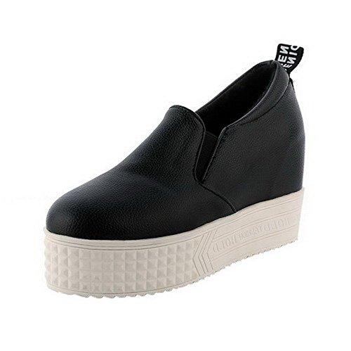 VogueZone009 Femme Suédé Couleur Unie Tire Rond à Talon Haut Chaussures Légeres Noir