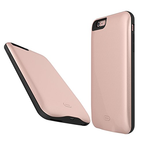 CaseforYou Batteriefach Hülle iPhone 6 Plus 7500mAh Taschen Schalen Akkus Rechargeable External Battery Backup Protective Case Power Bank Charger Cover Batteria Schützend Batterie-Schutz für iPhone 6  Rose Gold